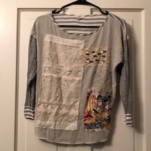 Anthropologie tiny patchwork striped top XS